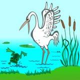 Ooievaar en Kikker vector illustratie