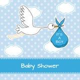 Ooievaar met babyjongen Stock Foto's
