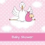 Ooievaar met babymeisje Stock Afbeelding