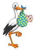 Ooievaar met pasgeboren baby stock illustratie