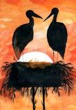 Ooievaars in nest bij zonsondergang stock illustratie