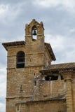 Ooievaarsnest in de toren van een kerk Royalty-vrije Stock Foto