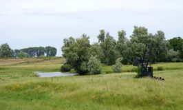 Ooijpolder nära Nijmegen i Nederländerna Arkivfoton