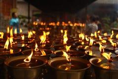 Ooit-brandt lampen stock foto