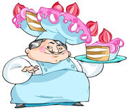 Сook. Rosy chubby chef holding a tray with a piece of cake Royalty Free Stock Photos