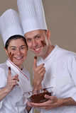 Ook couple tasting chocolate Stock Photo