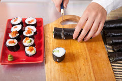 Ook making  Japanese sushi rolls Stock Image