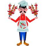 Ook sorridente del ¡ del cuoco unico Ð su un fondo bianco Fotografie Stock