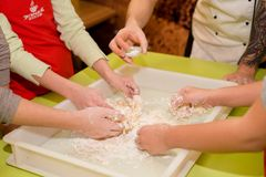 ?ooking of pizza with various ingredients in the cafe on the table stock image