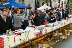 Ooks on street stalls  in Barcelona, Catalonia Stock Photos