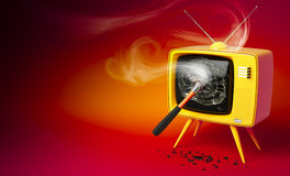 Oold fashioned TV set with shattered display. 3D render of a old fashioned TV set with shattered display Stock Photo