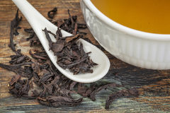 Oolong black tea. A cup of oolong black tea with loose leaf and teaspoon Royalty Free Stock Images