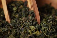 Oolong green tea in wood bowl Royalty Free Stock Photos