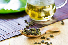 Oolong Tea leaf. In wooden spoon Stock Photography