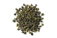 Oolong tea on white background. Top view. Close up. High resolution stock photos