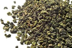 Oolong tea on white background. Top view. Close up. High resolution stock images