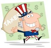 Oom SAM die een belastingenzak draagt royalty-vrije illustratie