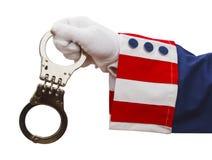 Oom Sam Handcuffs royalty-vrije stock afbeelding