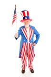Oom Sam met Amerikaanse Vlag Royalty-vrije Stock Afbeelding