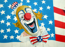 Oom Sam op Amerikaanse Vlag Royalty-vrije Stock Foto
