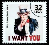 Oom Sam Postzegel Royalty-vrije Stock Foto's