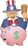 Oom Sam Smashing een Spaarvarken Stock Afbeelding