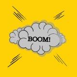 OOM! sformułowanie efekta dźwiękowego ustalony projekt dla komicznego tła, komiks Chmura z promieniem i hukiem! sformułowanie efe Zdjęcie Royalty Free
