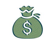Ooop!Comic sound effect in pop art style. Dollar Money Icon with Bag on White Background Royalty Free Stock Photography