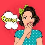 Ooops Удивленная женщина искусства шипучки Стоковые Изображения