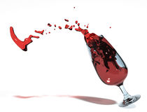 Ooops, an accident. An accidently spilled glass full of wine Stock Photo