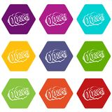OOOPS, comic book explosion icon set color hexahedron Stock Photos