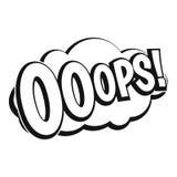 OOOPS, icône d'explosion de bande dessinée, style simple Photo libre de droits