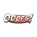Ooops korte uitdrukking, toespraakbel in retro stijl vectorillustratie Stock Foto