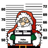 Ooops santa claus. Non-traditional and ironic illustration of Santa Claus stopped by the police .The  Santa Claus's mug shot could be used for greeting card Royalty Free Stock Photos