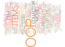 The Oop Factor In Collectible Items Text Background  Word Cloud Concept Stock Photo