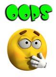 Oops 2. A conceptual image of a cartoon face that has made a mistake or error Stock Photos