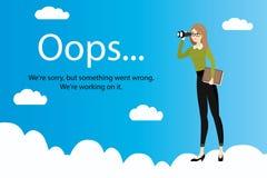 Oops błąd strona i Biznesowa kobieta z lornetkami na chmurach Obraz Royalty Free