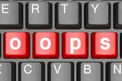 Oops button on modern computer keyboard. Image with hi-res rendered artwork that could be used for any graphic design stock illustration