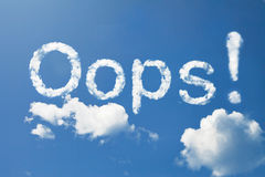 Oops!. Cloud word floating in the sky Stock Photo
