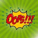 Oops! Comic style phrase on sunburst background. Design element Stock Images