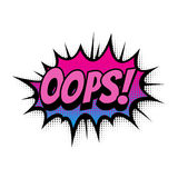 Oops comic text bubble vector isolated color icon Royalty Free Stock Images
