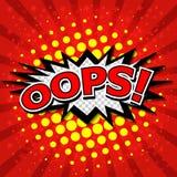 Oops! - Commic anförande Bubbel, tecknad film Stock Illustrationer