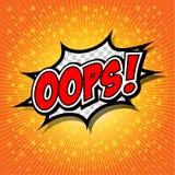 Oops! - Commic anförande Bubbel, tecknad film Vektor Illustrationer