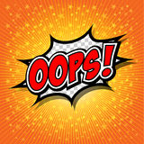 Oops! - Commic-Rede Bubbel, Karikatur Stockfoto