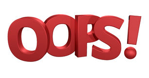 Oops 3d render red design Royalty Free Stock Photo