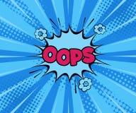 Oops! De grappige Vectorexplosies van de beeldverhaalillustratie Strippaginaboom! Tekenbanner De bellenklap van de strippaginatoe royalty-vrije illustratie