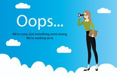 Oops error page and Business woman with binoculars on clouds Royalty Free Stock Image