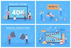 Oops 404 error page not found concept set royalty free illustration