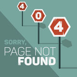Oops, Error 404 Web Banner. Page Not Found. Stop Traffic Signs Along The Road. Bad Request. Vector Graphic Stock Images