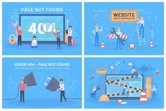 Oops 404 gevonden niet van de foutenpagina conceptenreeks royalty-vrije illustratie